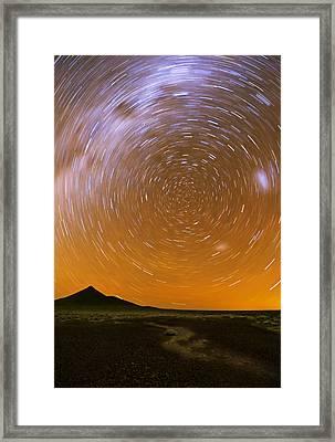 Karoo Desert Star Trail 01 Framed Print by Basie Van Zyl