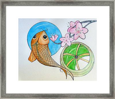 Karp And Cherry Blooms Framed Print