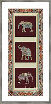 Kashmir Elephants - Vintage Style Patterned Tribal Boho Chic Art Framed Print by Audrey Jeanne Roberts