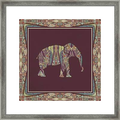 Framed Print featuring the painting Kashmir Patterned Elephant 2 - Boho Tribal Home Decor  by Audrey Jeanne Roberts