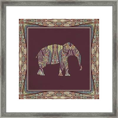 Kashmir Patterned Elephant 2 - Boho Tribal Home Decor  Framed Print