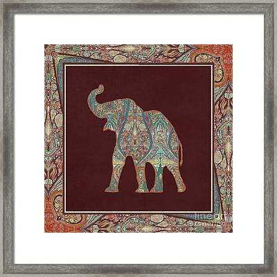 Framed Print featuring the painting Kashmir Patterned Elephant 3 - Boho Tribal Home Decor by Audrey Jeanne Roberts