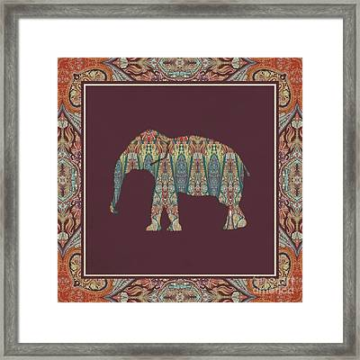 Framed Print featuring the painting Kashmir Patterned Elephant - Boho Tribal Home Decor  by Audrey Jeanne Roberts