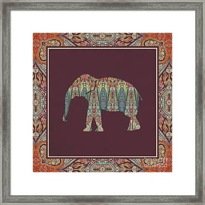 Kashmir Patterned Elephant - Boho Tribal Home Decor  Framed Print