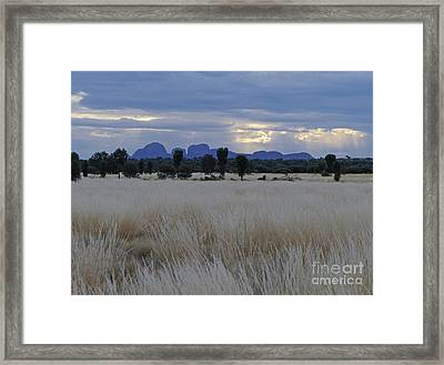 Kata Tjuta - Rain Clouds Framed Print by Phil Banks