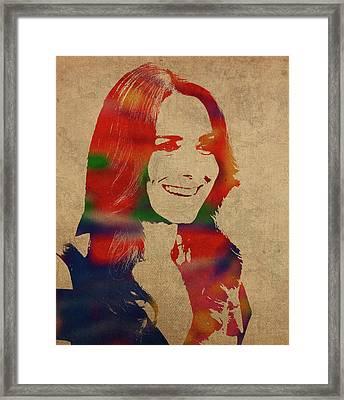 Kate Middleton Watercolor Portrait Framed Print
