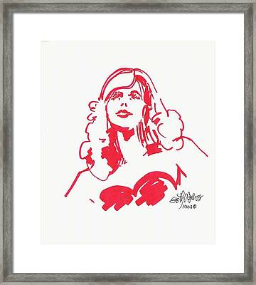 Framed Print featuring the drawing Kate Moss by Seth Weaver