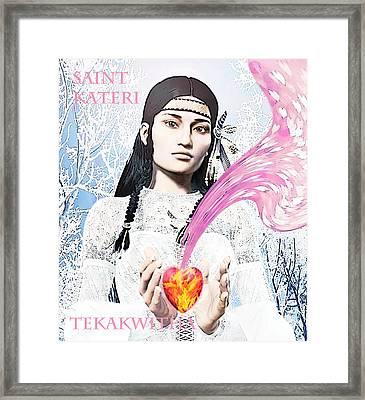 Kateri Tekakwitha Valentine Image Framed Print by Suzanne Silvir