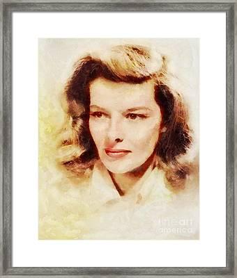 Katharine Hepburn, Vintage Hollywood Legend Framed Print by Sarah Kirk