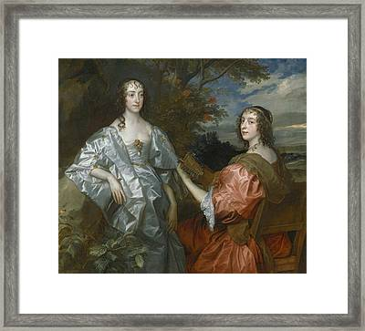 Katherine, Countess Of Chesterfield, And Lucy, Countess Of Huntingdon Framed Print by Anthony Van Dyck