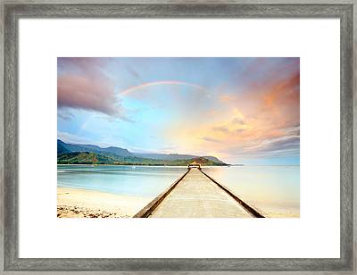 Kauai Hanalei Pier Framed Print by Monica and Michael Sweet