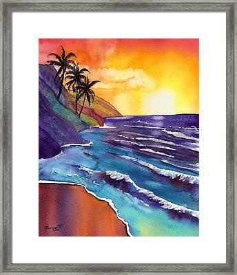 Kauai Na Pali Sunset Framed Print by Marionette Taboniar