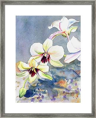 Framed Print featuring the painting Kauai Orchid Festival by Marionette Taboniar