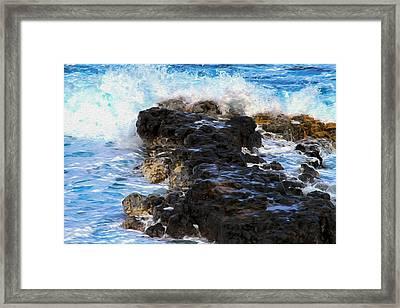 Kauai Rock Splash Framed Print