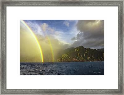 Kauai Sunset Rainbow Framed Print