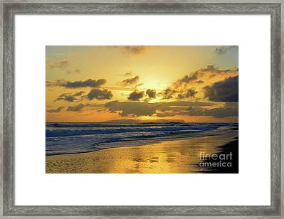 Kauai Sunset With Niihau On The Horizon Framed Print