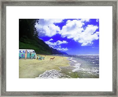 Kauai Vw Surfer Framed Print
