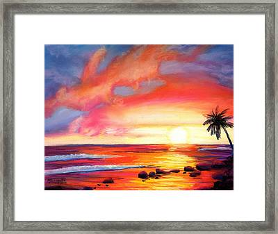 Framed Print featuring the painting Kauai West Side Sunset by Marionette Taboniar