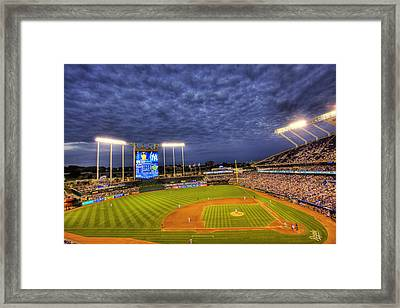 Kauffman Stadium Twilight Framed Print by Shawn Everhart