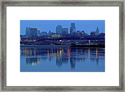 Kaw Point Blue Hour Reflection Framed Print by Frozen in Time Fine Art Photography