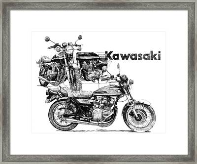Kawasaki 900 Framed Print by Ron Patterson