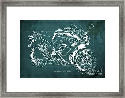 Kawasaki Ninja 1000 Abs 2016 Blueprint Green Back, Fathers Day Gift Framed Print by Pablo Franchi