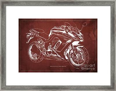 Kawasaki Ninja 1000 Abs 2016 Blueprint Red Back Fathers Day Gift Framed Print by Pablo Franchi