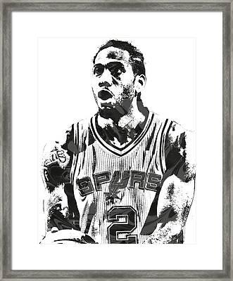 Kawhi Leonard San Antonio Spurs Pixel Art 4 Framed Print by Joe Hamilton
