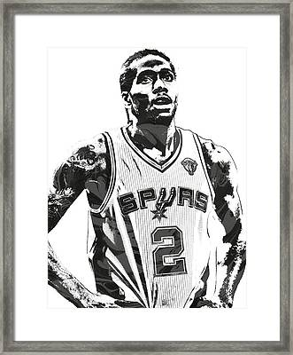 Kawhi Leonard Sanantonio Spurs Pixel Art 3 Framed Print by Joe Hamilton