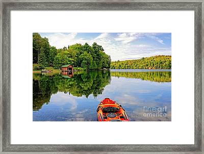 Kayak And Cottages In Gatineau Park Framed Print