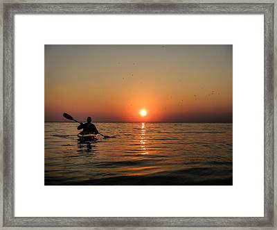 Kayak At Sunset Framed Print