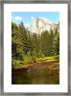 Kayak Below Half Dome Framed Print