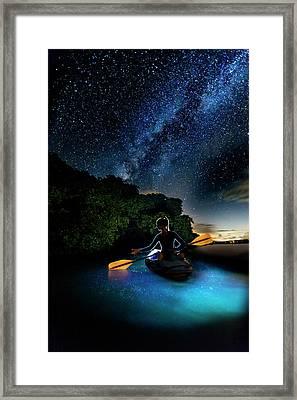 Kayak In The Biobay Under The Milky Way Framed Print by Karl Alexander
