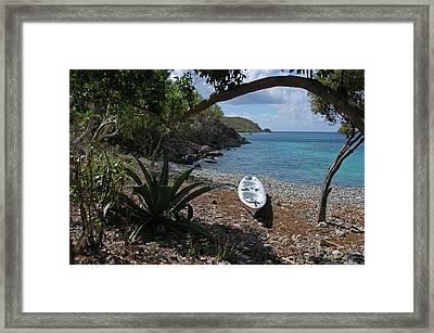 Kayak On The Beach Framed Print