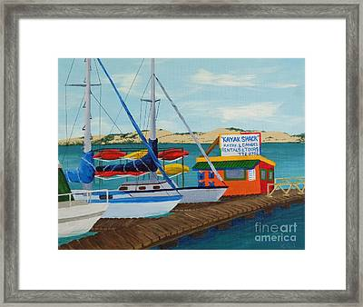 Framed Print featuring the painting Kayak Shack Morro Bay California by Katherine Young-Beck