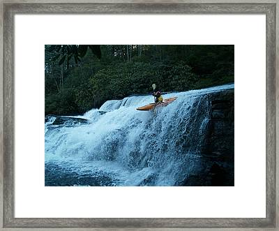 Kayak Triple Falls Framed Print