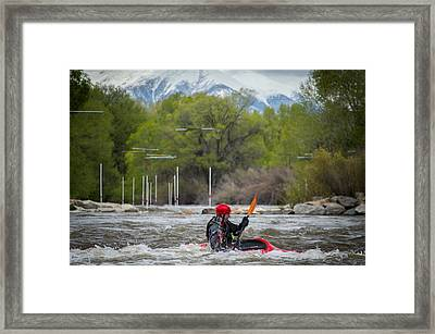 Kayaker On The Arkansas Framed Print