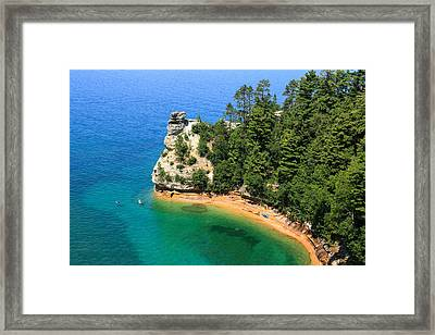 Kayaking At Miners Castle Framed Print by Rachel Cohen