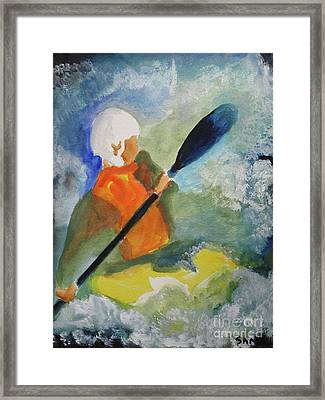 Framed Print featuring the painting Kayaking by Sandy McIntire