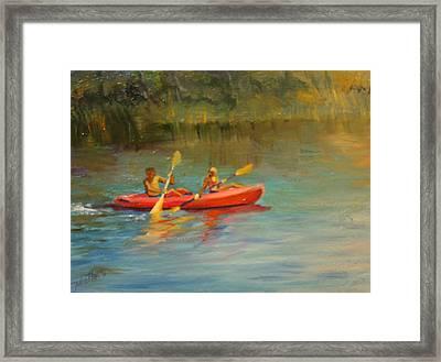 Kayaking Watercolor Lake Framed Print by Jill Holt