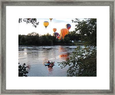 Kayaks And Balloons Framed Print