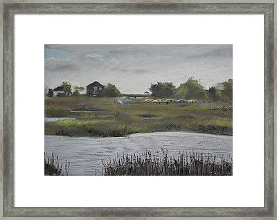 Kayaks And Clouds Framed Print by Christopher Reid