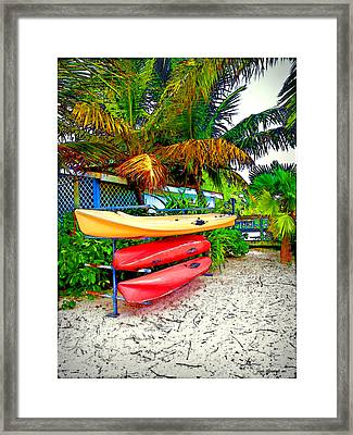 Kayaks In Paradise Framed Print by Joan  Minchak