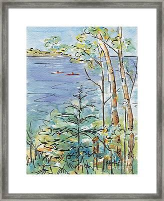 Kayaks On The Lake Framed Print by Pat Katz