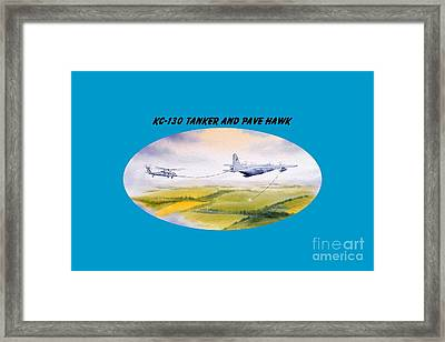 Kc-130 Tanker Aircraft And Pave Hawk With Banner Framed Print by Bill Holkham