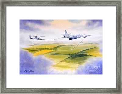 Kc-130 Tanker Aircraft Refueling Pave Hawk Framed Print by Bill Holkham
