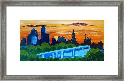 Kc Skyline At Sunset Framed Print