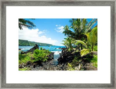 Keanae Framed By Palm Trees Maui Hawaii Framed Print by Sharon Mau