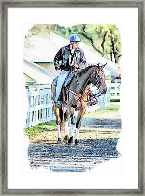 Keeneland Pony Boy Framed Print by Tom Schmidt