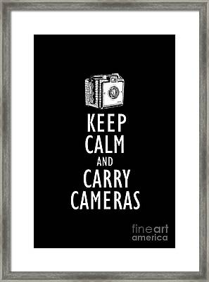 Keep Calm And Carry Cameras Tee Framed Print
